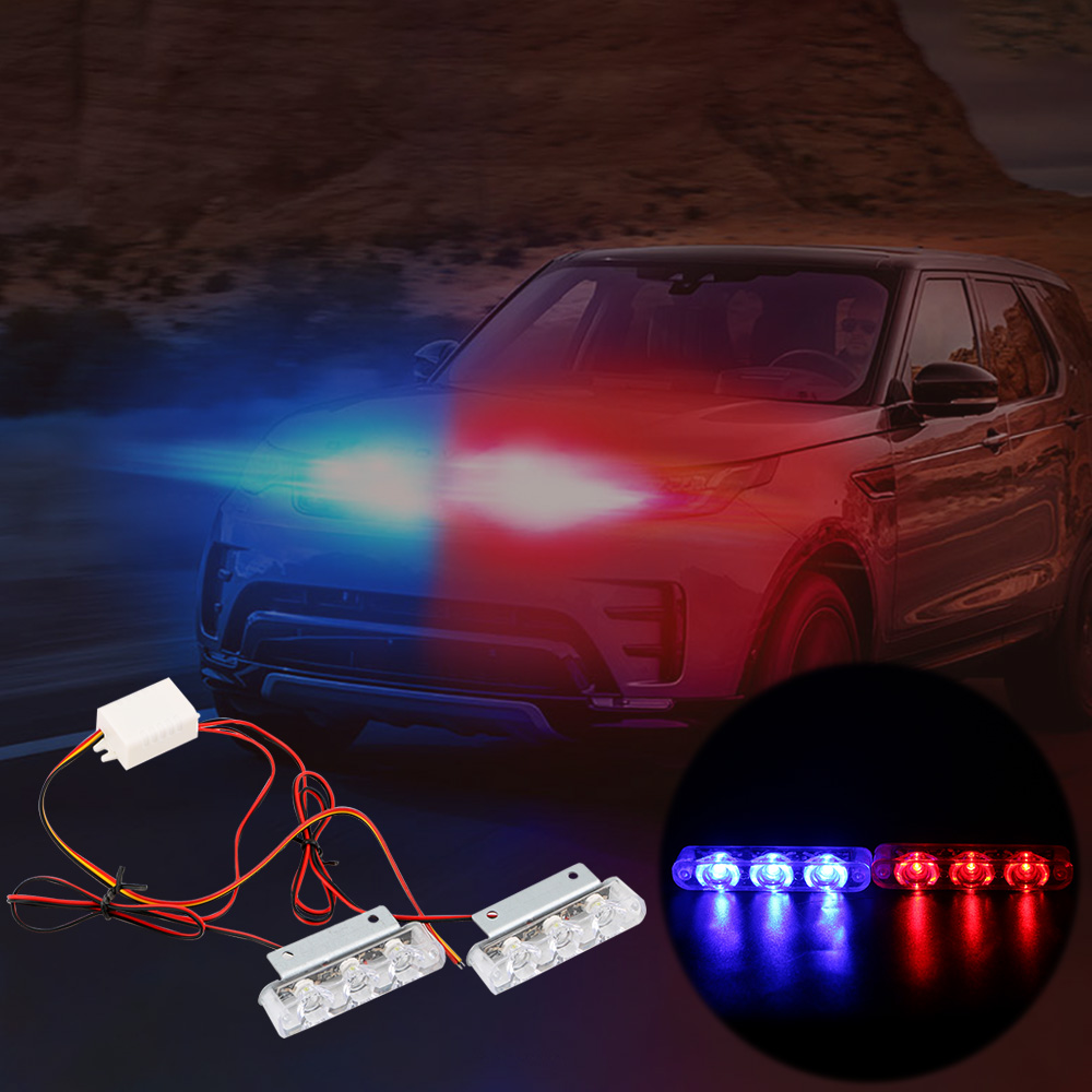 2Pcs 3 LED Strobe Police Light 12V 8W Car Truck Motorcycle Flashing Emergency Warning Rear Tail Brake Stop Led Lights Lamp