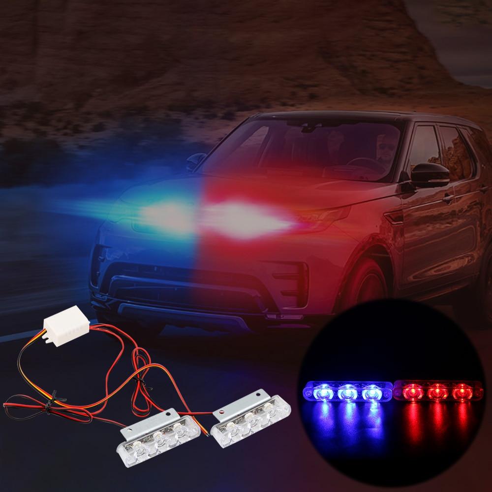 2Pcs 3 LED Strobe Police Light 12V 8W Car Truck Motorcycle Flashing Emergency Warning Rear Tail Brake Stop Led Lights Lamp