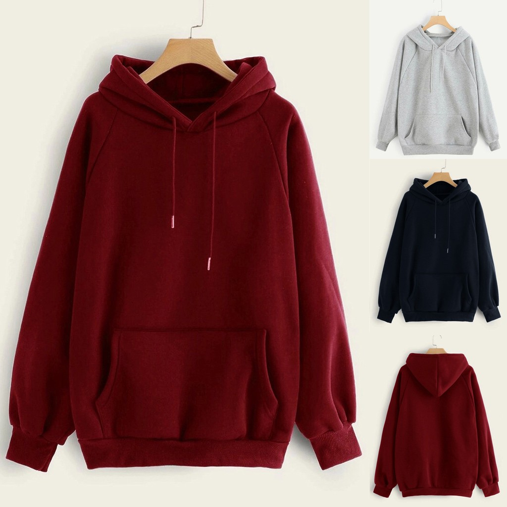 Women's Harajuku Hooded Casual Solid Color Hooded Pocket Long Sleeve Pullover Sweatshirt For Girls Moletom Feminino#G2