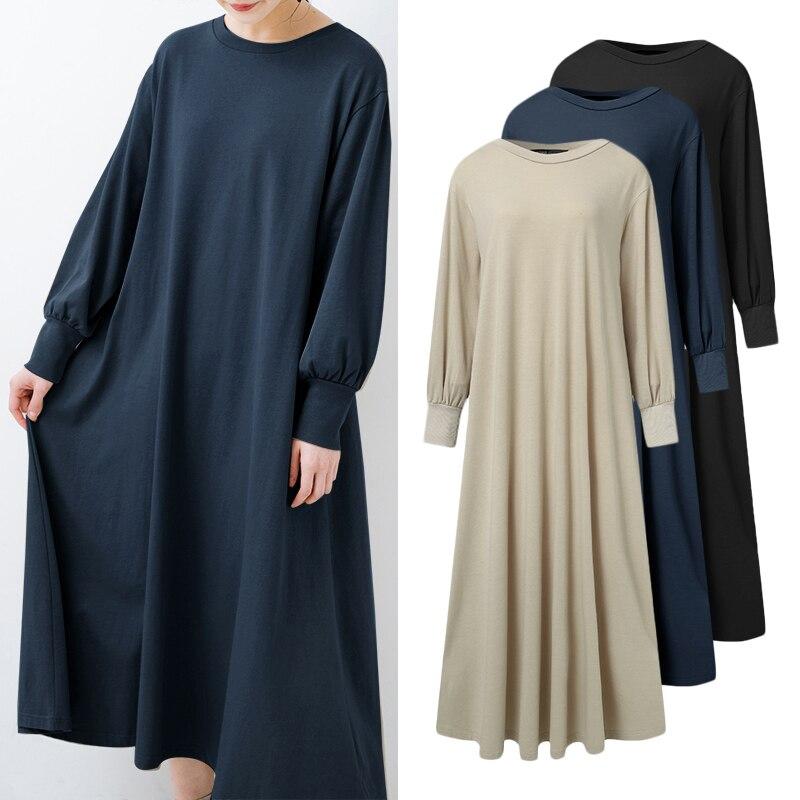 Женское платье с длинным рукавом ZANZEA, однотонное осеннее платье до середины икры с круглым вырезом, модель 5XL