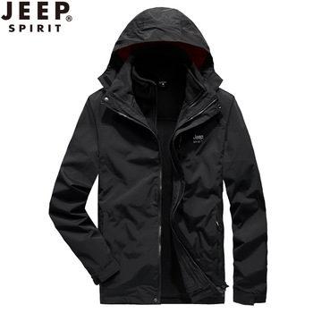 JEEP three-in-one removable men and women outdoor waterproof windbreaker sports Camping self-driving climbing  jacket