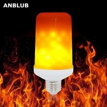 ANBLUB E27 LED 동적 불꽃 효과 옥수수 전구 4 모드 AC 85 265V 깜박 거리는 에뮬레이션 중력 장식 램프 크리 에이 티브 화재 조명
