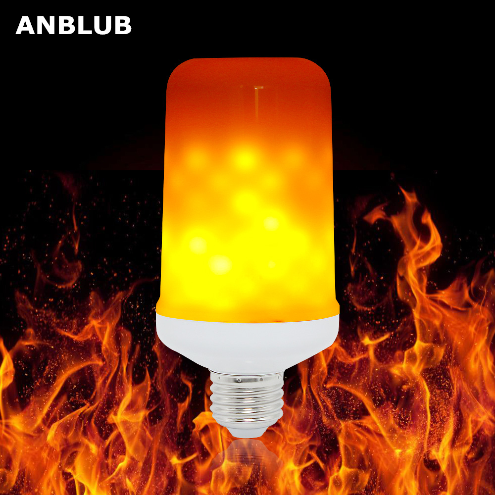 ANBLUB E27 LED Dynamic Flame Effect Corn Bulb 4 Modes AC 85-265V Flickering Emulation Gravity Decor Lamp Creative Fire Lights