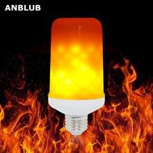ANBLUB E27 LED dinamik alev etkisi mısır ampul 4 modları AC 85 265V titrek emülasyon yerçekimi dekor lambası yaratıcı yangın işıkları