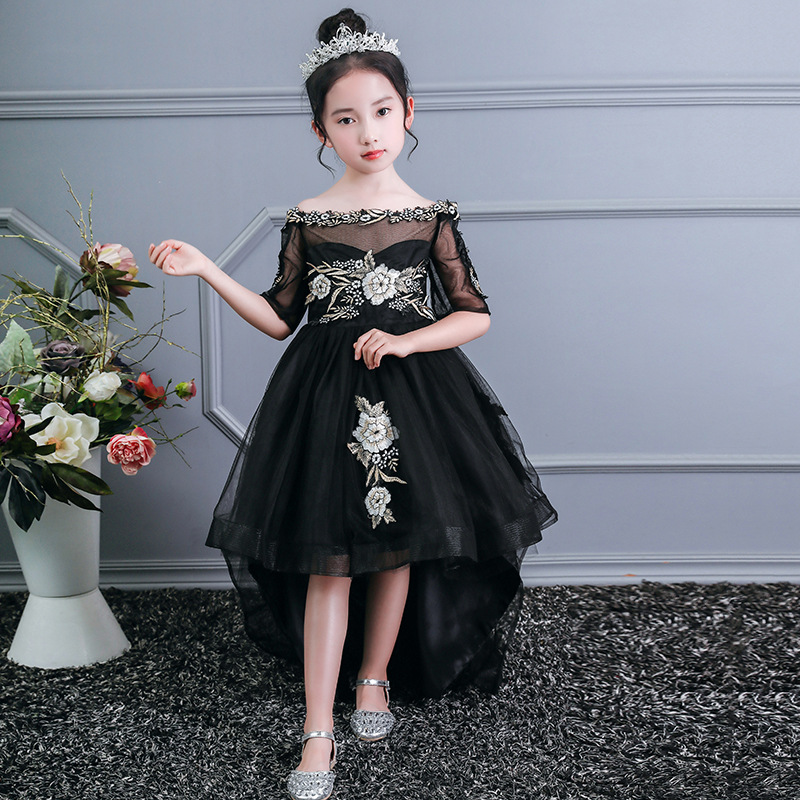 Teens Party Dresses One shoulder Elegant Girls Princess Dress printing Baby Wedding Birthday Dress Girls Dance Party prom Wear 1