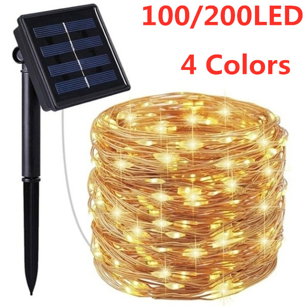 SNEWVIE 100/200LED Solar Powered String Lights Outdoor Waterproof Copper Wire  Lights For Garden Festival Decoration