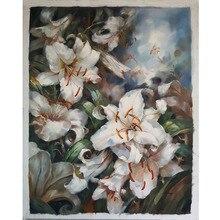 Realistic Lily Flower Art decorative painting Art Handpaint