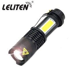 Mini lâmpada de trabalho portátil xpe + cob led lanterna zoom tocha carga usb + 1 * construído em 14500 bateria