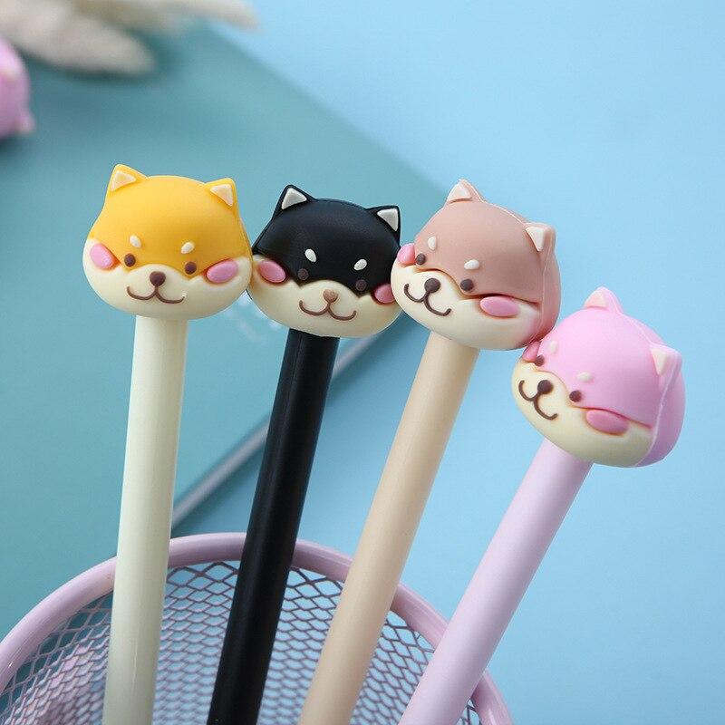 2 Pcs/lot Cartoon Animal Party Shiba Head Gel Pen Ink Marker Pen School Office Supply Escolar Papelaria