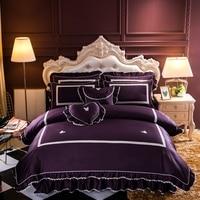 100% egyptian cotton bedclothes Soft Butterfly Decoration bedding set bedskirt pillowcase king comforter set cover 4/7pcs