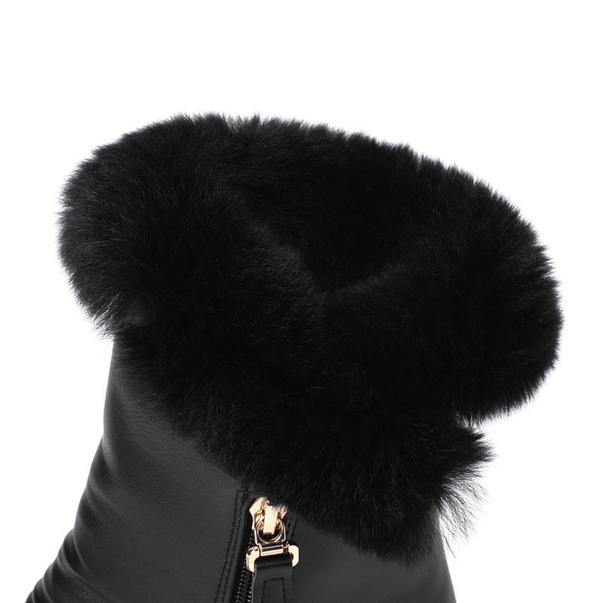 Image 4 - QUTAA/2020 г. Зимняя женская обувь, увеличивающая рост повседневные зимние ботинки из искусственной кожи с круглым носком ботильоны на молнии на платформе размеры 34 40-in Полусапожки from Обувь