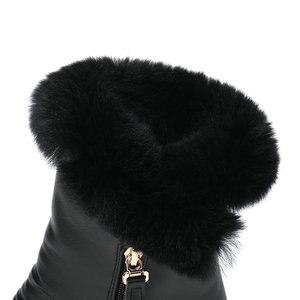 Image 4 - QUTAA/2020 г.; зимняя женская обувь, увеличивающая рост; из искусственной кожи повседневные зимние ботинки с круглым носком; ботильоны на платформе на молнии; размеры 34 40