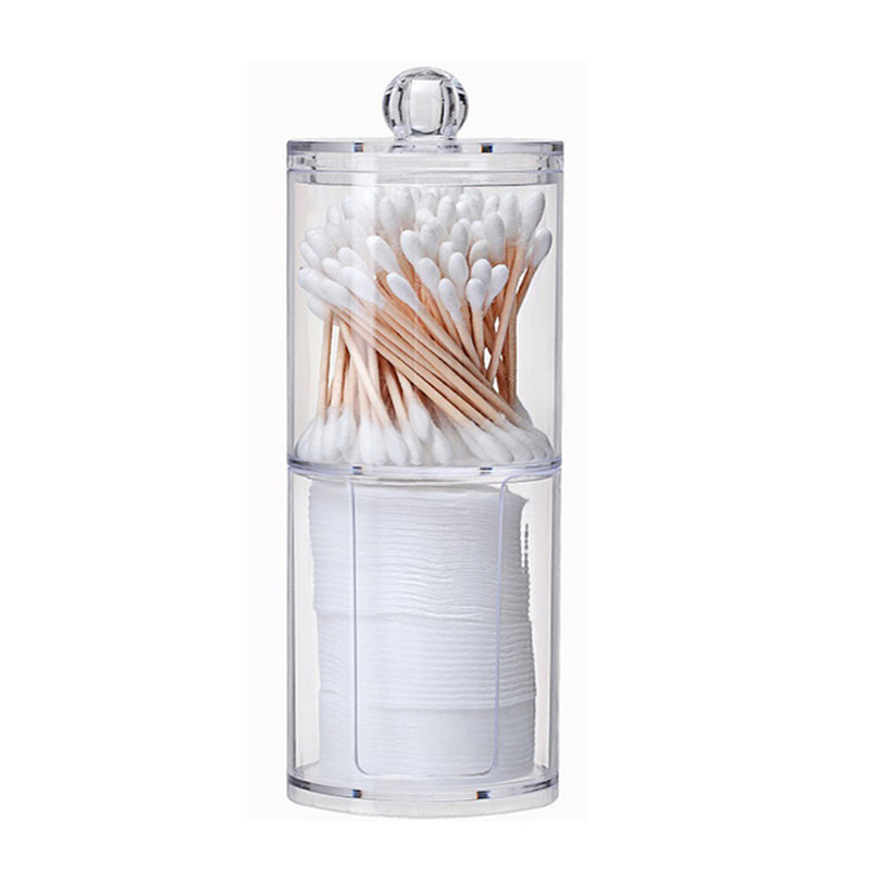 2 in 1 Acrylic Multifunctional Round Transparent Container Cosmetic Makeup Cotton Pad Organizer Jewelry Storage Box Holder Jars Storage Boxes & Bins     - title=