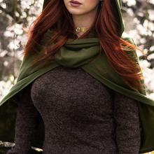 Dark Cloak Women Vintage Hooded Cloak Gothic Witch Cloak Capes Sleeveless Button Closure Thin Hooded Short Cape Halloween(China)