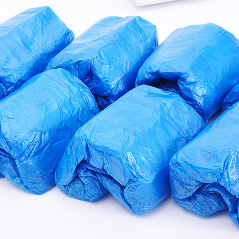 NEW Disposable Plastic Thick Outdoor Rainy Day Carpet Cleaning Shoe Cover Blue Waterproof Hot Sale Shoe Covers 100Pcs/pack