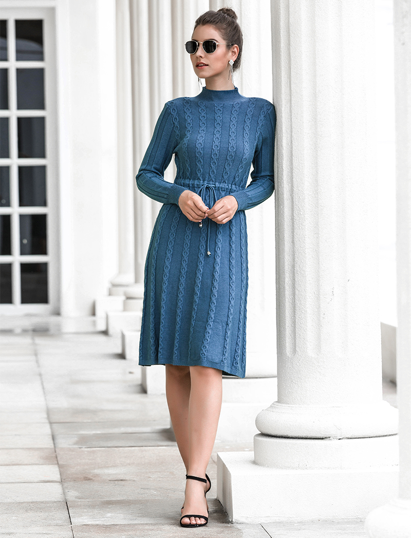 Autumn Winter Dresses 2019 New Arrival Fashion Casual Knee Length Knitted Dress Ladies Long Sleeve Sweater Dresses Black Blue 79