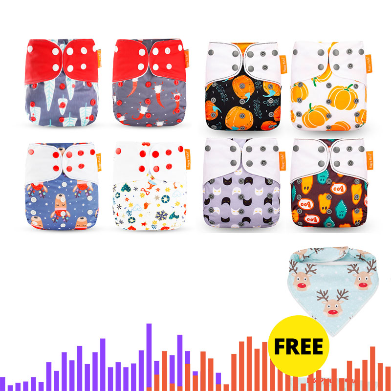 Happyflute HOt Sale OS Pocket Diaper 8pcs Diape+8pcs Microfiber Insert Washable &Reusable Baby Nappy Adjustable Baby Nappy Cover