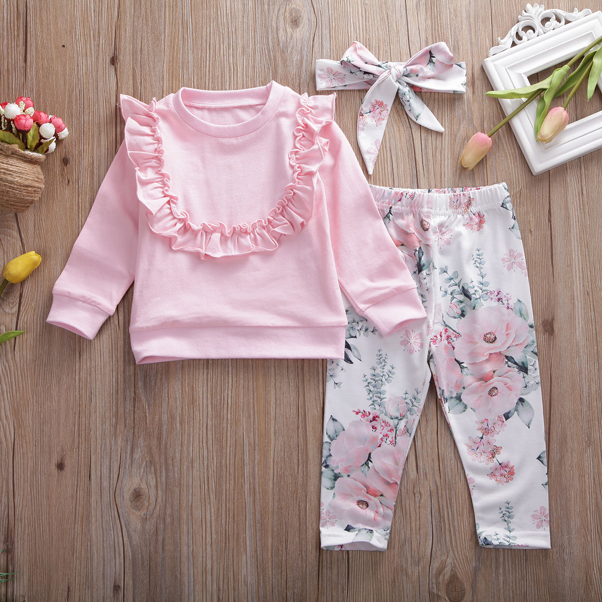 Pudcoco Newborn Baby Girl Clothes Solid Color Flower Ruffle Long Sleeve Tops Flower Print Long Pants Headband 3Pcs Outfits Set