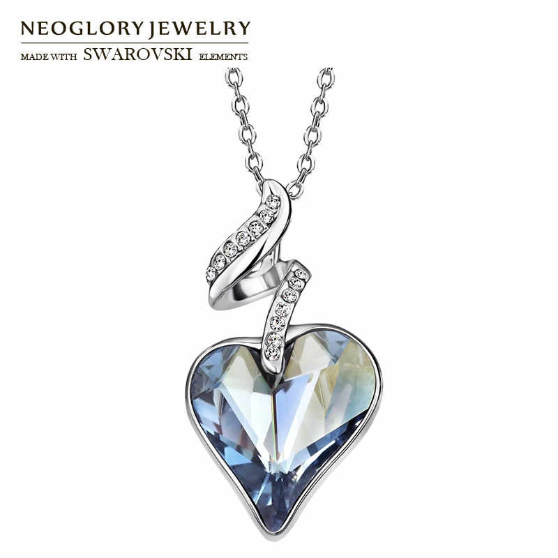 Neoglory Austria Crystal & Czech Rhinestone Love Heart Charm Pendant Long Necklace Elegant Romantic Holiday Valentine's Gift