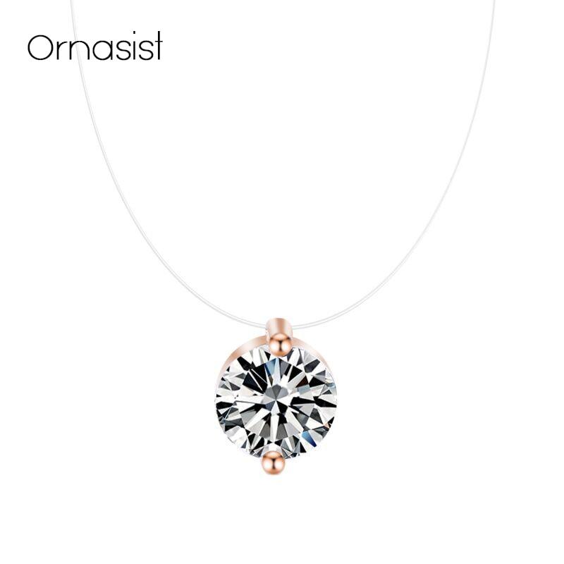 Colar de pingente de linha de pesca transparente invisível para mulheres collier metal prata cor gargantilha colares