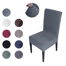 Jacquard Plain Dining Chair Cover Spandex Elastic Chair Slipcover Case Stretch Chair Cover for Kitchen Wedding