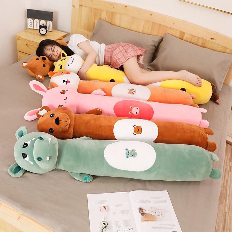 75cm/100cm Plush Cat Giraffe Bear Rabbit Hippo Toy Doll Boyfriend Giant Long Pillow Big Cushion Stuffed Doll Girls Bolster Gifts