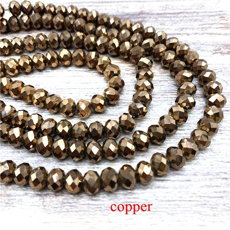 2X3/3X4/4X6/6X8 мм хрустальные бусины AB разноцветные стеклянные бусины Sapcer для ювелирных изделий ручное кольцо Ожерелье Изготовление DIY - Цвет: Copper