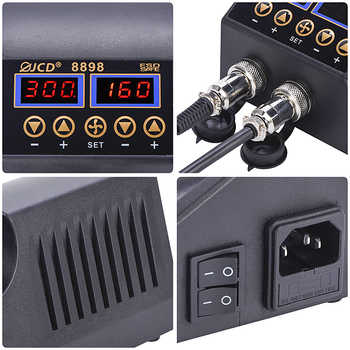 JCD 8898 220V Soldering Station 2 in 1 Digital LCD Display Rework Station SMD Soldering Iron Hot Air Desoldering-Gun Welding