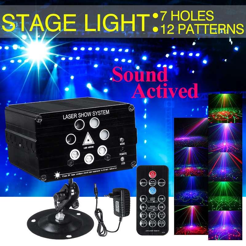 9W 120 Modes Sound Activated Party Light Strobes Laser Light RGB LED  Light Christmas DJ Club Home KTV Party Show Bar
