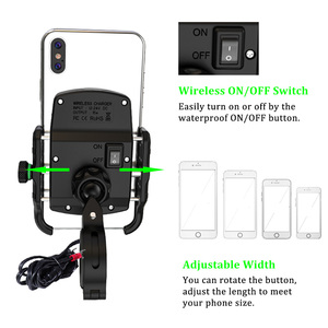 Image 3 - ACCNIC DIN/SAE to USB Charger & Motorcycle Wireless Charger Phone Holder for samsung S10 S9 S8 iphone X XS  8 Wireless Charging