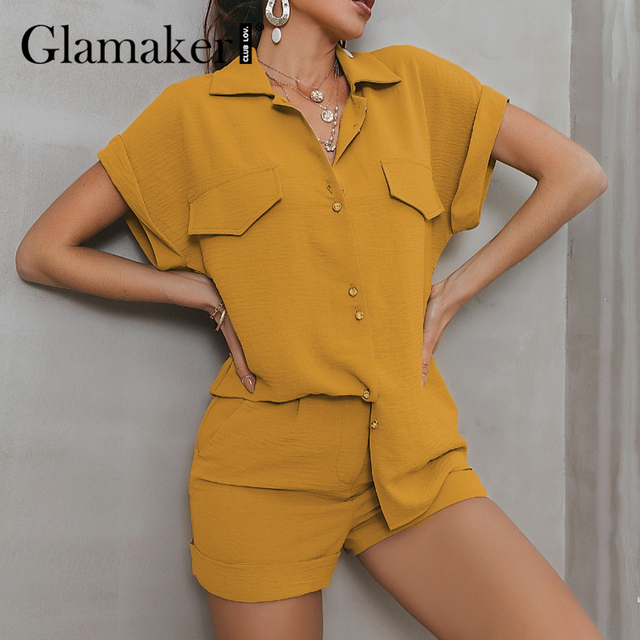 Glamaker Green two piece suit short sleeve shirt and shorts Women loose casual summer playsuit Female 2021 new office lady sets 6