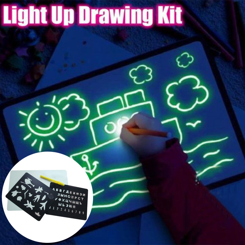 Light Up Drawing Fun Developing Toy Draw Sketchpad Board Portable For Children Kids HJ55