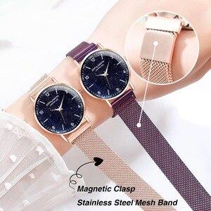 Image 4 - Women Watch Magnetic Rose Gold Starry Sky Watch Luminous 2019 Ladies Stainless Steel Wrist Watch For Waterproof relogio feminino