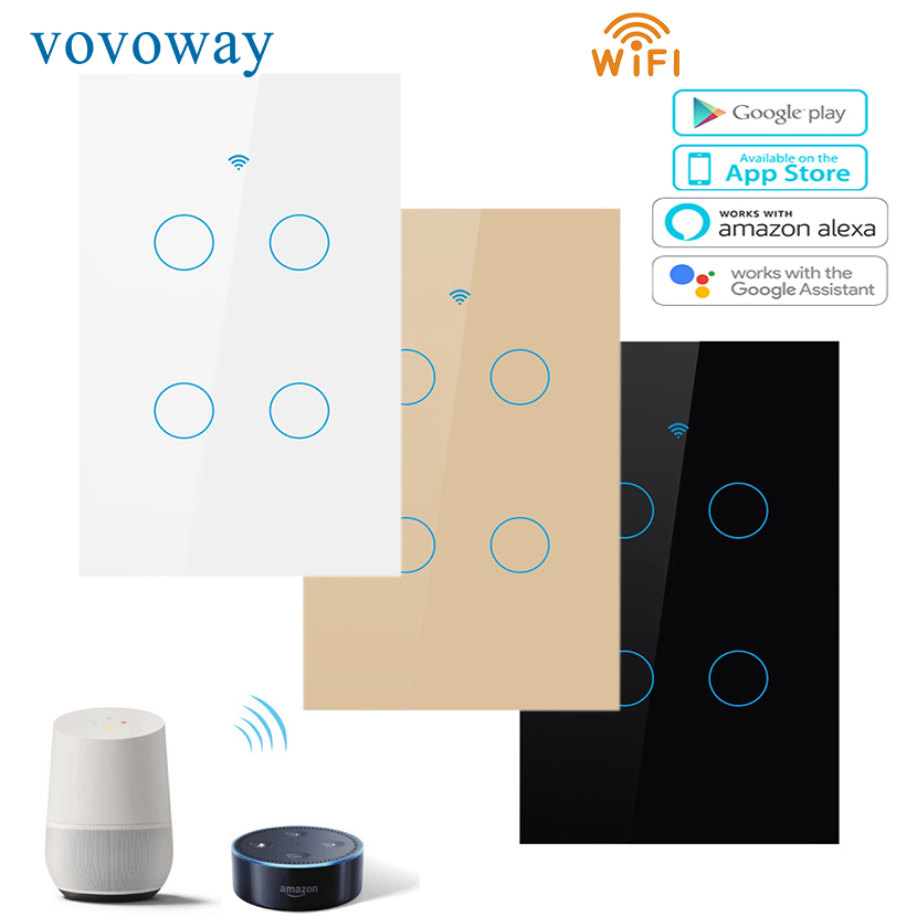 Vovoway US Touch switch home wall stick light switch wifi network connection mobile phone APP remote control,4gang AC110V-220V