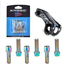KRSCT 6 PCS Bicycle Stem Titanium Plated Screws Bolts With Washe M5*18mm M6*18mm For MTB Road Bike Handlebar