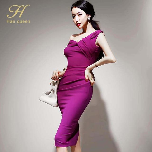 H Han Queen Elegant Slash neck Pencil Dress Women Spring Autumn High Waist Sheath Dresses Korean Slim Chic Party Bodycon Vestido 4