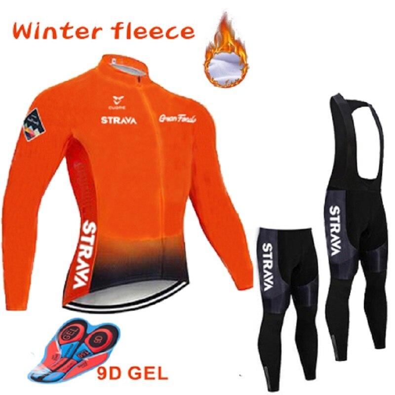 2020 new Hot STRAVA Winter Thermal Fleece Cycling Jersey Long Sleeve Jerseys Cycling Bib Pants Set Bike Bicycle Cycling Clothing