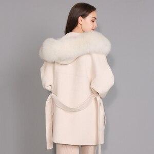 Image 2 - Kaşmir ceket kadınlar ayrılabilir tilki kürk yaka yün karışımı ceket ve ceket kemer bayanlar sonbahar kış kaşmir palto