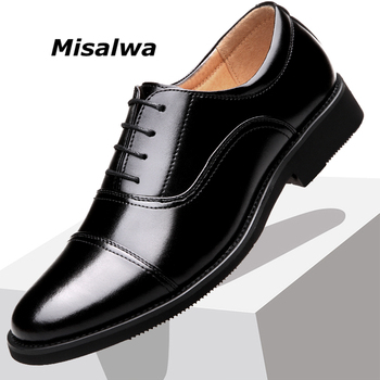 Misalwa Triple joint Classic Officer Men Dress Shoes Armyman Wing-tip Derby PU Leather Elegant Suit Business Formal Oxfords