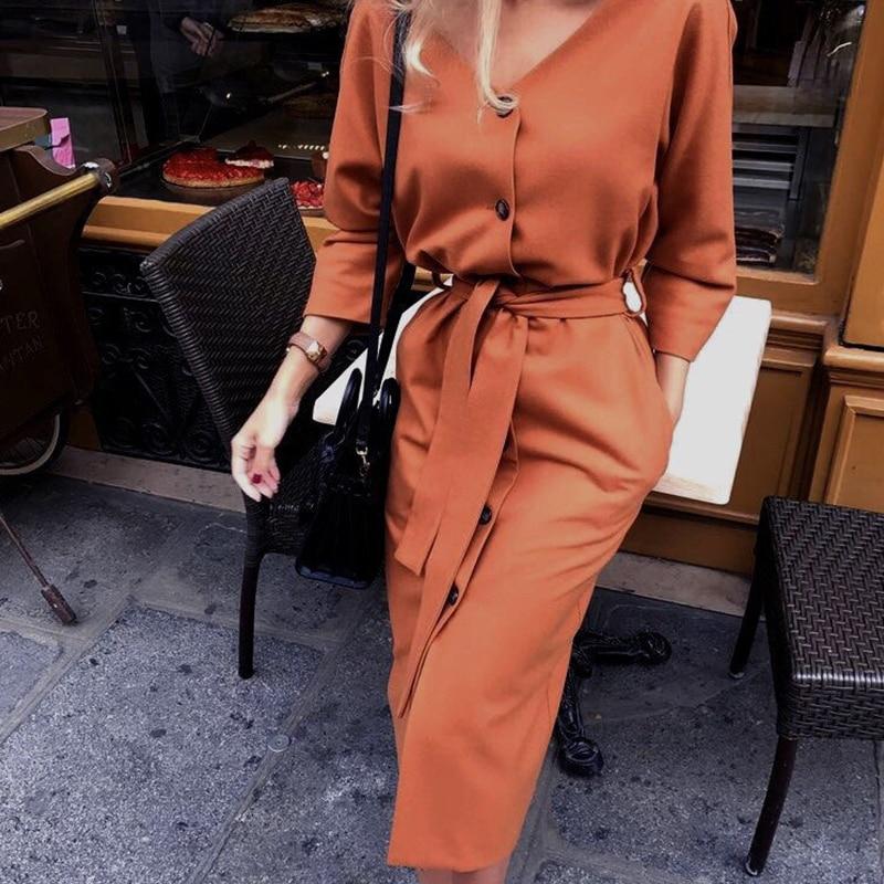 Robe Sexy col en V Midi Vintage pour femme