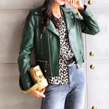Jacket Genuine-Sheepskin-Leather Real-Leather Women Coats Motorcycle And Female Colorful