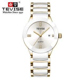 Image 1 - Femmes de luxe montres TEVISE haut à la mode marque acier inoxydable montre étanche femme robe Quartz montres Relogio Feminino