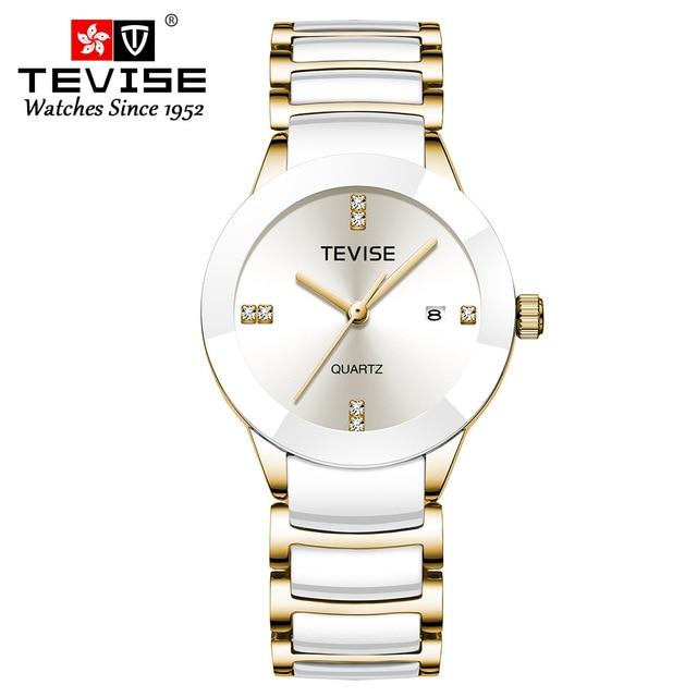 Luxury Women Watches TEVISE Top Fashion Brand Stainless Steel Waterproof Watch Woman Dress Quartz Wrist Watches Relogio Feminino