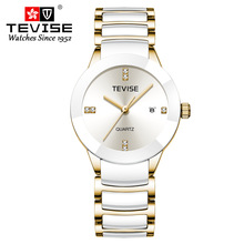 Relojes de lujo para mujer, marca TEVISE de alta moda, reloj resistente al agua de acero inoxidable, reloj de pulsera de cuarzo para mujer, reloj femenino