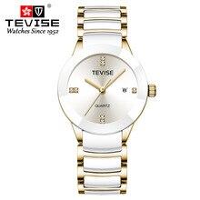 ผู้หญิงหรูหรานาฬิกา TEVISE แฟชั่นแบรนด์สแตนเลสกันน้ำนาฬิกาผู้หญิงชุดนาฬิกาควอตซ์ Relogio Feminino
