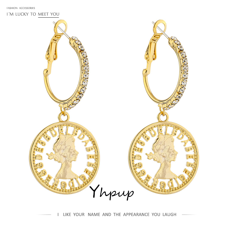 Yhpup Fashion Portrait Gold Hoop Earrings Exquisite Cubic Zirconia Jewelry Temperament Geometric...
