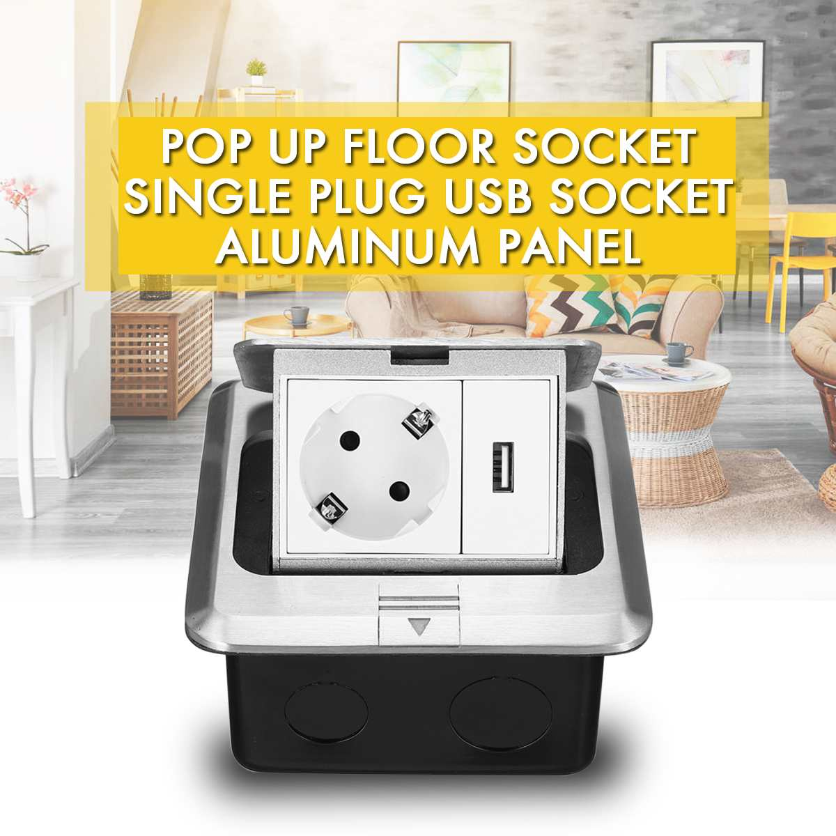 All Aluminum Silver Panel Pop-Up Floor Socket 16A Russia Spain EU Standard Power Outlet With USB Charging Port 5V 1A