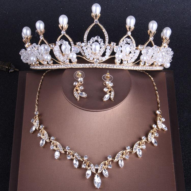 Luxury Gold Dubai Wedding Jewelry Sets Rhinestone Crown Statement Necklace Earrings Nigerian African Beads Wedding Jewelry Set