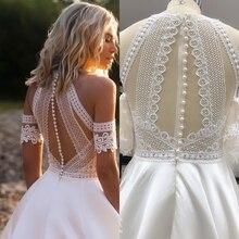 Vestidos De novia Bohemia VINTAGE encaje satén vestidos De novia playa traje De novia hecho a medida
