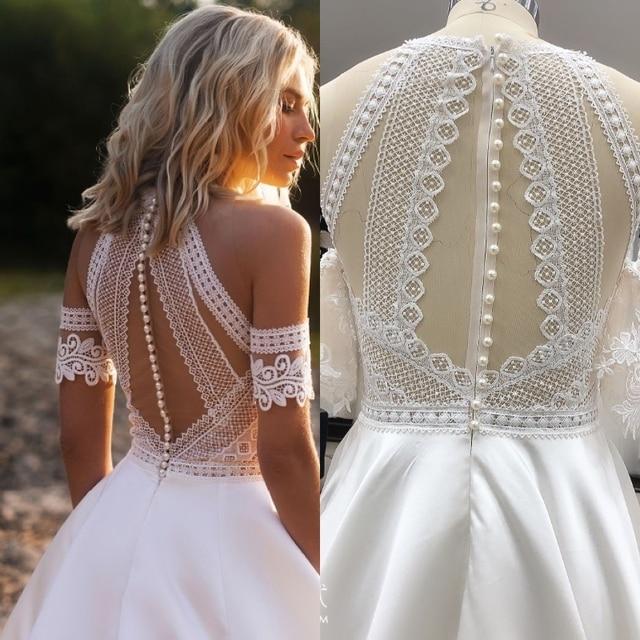 Bohemian VINTAGE BOHO Wedding Dresses Lace Satin Bridal Gowns Beach Custom Made Robe De Mariee